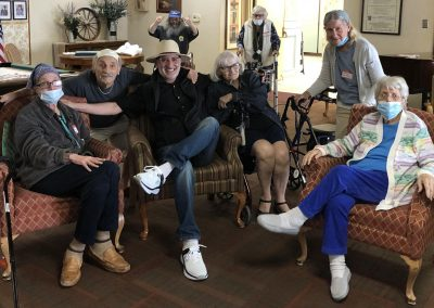 Seniors being entertained at the Evergreen retirement home in Burbank